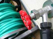Turn on. Garden hose tap stock photos