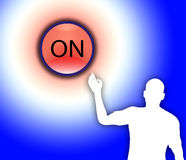 Turn On. Concept image of a outline figure turning on a button Stock Images