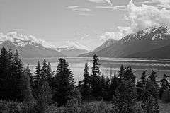Turn Again Arm Alaska. Black and white photo of a inlet in Alaska Stock Image
