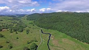 Turn around and flying through the glen between Oban and Taynuilt, Argyll stock video footage