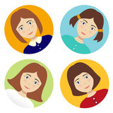Turn Avatar Girl. On a colored background. vector Girl set hairstyles royalty free illustration