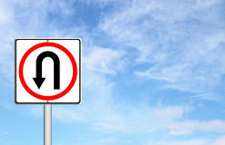 Turn back road sign. Over blue sky blank for text Royalty Free Stock Image