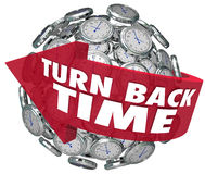 Turn Back Time Arrow Clock Sphere. The words Turn Back Time on an arrow around a sphere of clocks to illustrate turning backward to redo or revise an action Stock Photography
