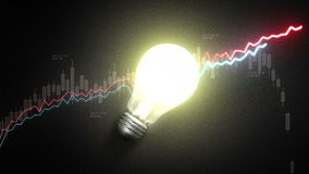 Turn on bulb light, and Increase economic stock charts and graphs, idea concept. stock footage