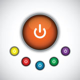 Turn on button set Stock Photography