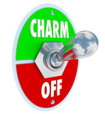 Turn on the Charm Toggle Switch Be Charismatic. A metal toggle switch with plate to illustrate the saying Turn On the Charm symbolizing the desire to be Stock Photography