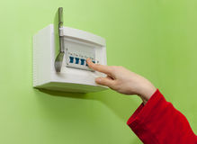 Turn on electrical switch Stock Photography