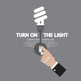 Turn On The Energy-Efficient Light Bulb. Vector Illustration Stock Photography
