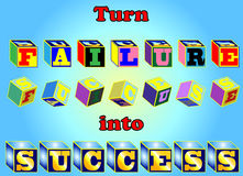Turn Failure Into Success. Failure spelled out in randomly colored blocks that begin to turn or spin and fall into place spelling Success in consistent gold Royalty Free Stock Photo