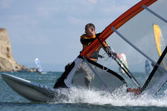 Turn-Freestyle sailing. stock images