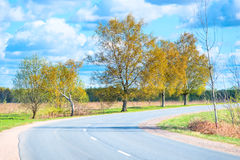 Turn highway in a rural location Royalty Free Stock Photos