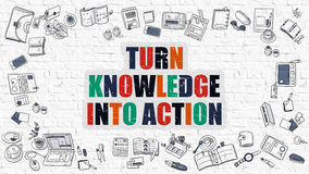 Turn Knowledge Into Action Concept. Multicolor on White Brickwall. Turn Knowledge Into Action Concept. Modern Line Style Illustration. Multicolor Turn Knowledge Stock Images