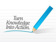 Turn knowledge into action message illustration. Design over white Stock Photo