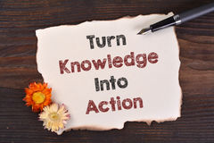 Turn Knowledge Into Action Stock Images