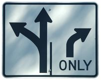 Turn Lanes. Left/Straight or Right royalty free stock photos