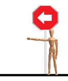 Turn left. Road sign mannequin Royalty Free Stock Image