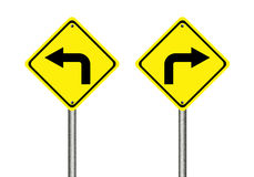 Turn left and right traffic sign. Isolated on white background Stock Photography