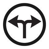 Turn left or right traffic sign line icon. Traffic and road sign, vector graphics, a solid pattern on a white background, eps 10 Stock Image