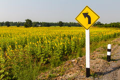 Turn left and sunflower Royalty Free Stock Photos