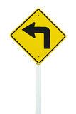 Turn left traffic sign isolated. On white background stock photography