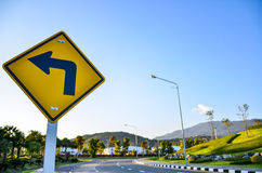 Turn left traffic sign. On road royalty free stock photography