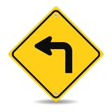 Turn left traffic sign. Siolated on white background royalty free stock photos