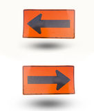 Turn left and turn right sign. Isolated on white background stock photo