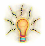Turn The Lights On. This is a hand painted digitally rendered image of a lightbulb royalty free illustration