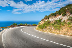 Turn of mountain asphalt road Royalty Free Stock Photo