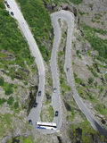 Turn of the mountain road. Trollstigen  - famous mountain road in Norway Royalty Free Stock Images