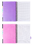 Turn notebooks into the cage. Turns notebooks into the cage with a pink and purple background, isolated Royalty Free Stock Image