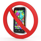 Turn off mobile phones, forbidden sign concept Royalty Free Stock Photography