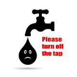 Turn off the tap placard Stock Photography