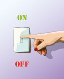 Turn off toggle style electric light wall switch. Conserve energy. Vector Royalty Free Stock Photography