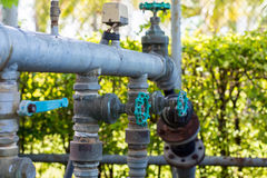 Turn off the water supply valves. Valves control water pressure in the park Stock Photo