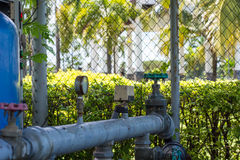 Turn off the water supply valves. Valves control water pressure in the park Royalty Free Stock Images