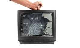 Turn off your TV. Kill it.man's hand punching TV stock photos