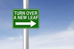 Turn Over A New Leaf. A road sign indicating Turn Over A New Leaf Royalty Free Stock Image
