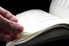 Turn the page. An hand turning a page of the book royalty free stock images