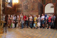 Turn pilgrims. MOSCOW REGION, SERGIYEV POSAD, RUSSIA - JUL 18, 2014: Trinity Lavra of St. Sergius. Celebration of the 700th anniversary of the birthday of St Stock Images