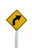 Turn right Arrow traffic sign isolated on white background Royalty Free Stock Photos