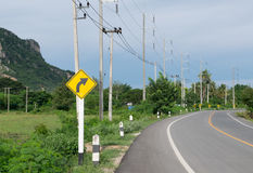 Turn right curve in rural areas Stock Photos