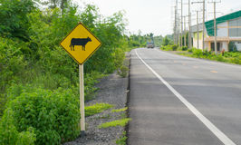 Turn right curve in rural areas royalty free stock photos