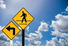 Turn right and a man walking sign Royalty Free Stock Images