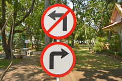 Turn right and no turn left signs Royalty Free Stock Photo