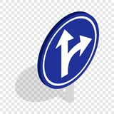 Turn right road sign isometric icon Stock Photos