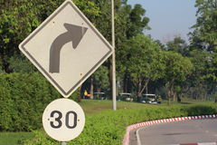Turn Right Sign with 30km/h speed limit sign. In the park Royalty Free Stock Photos