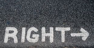Turn right sign. On an asphalt royalty free stock photography