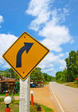 Turn right sign and street. Turn right sign and asphalt street in rural area royalty free stock photography