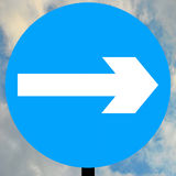 Turn right traffic sign. Turn right road traffic sign Stock Photos